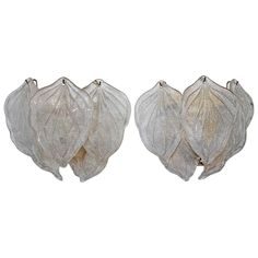 Murano Italian Rugiadoso Glass Leaf Wall Sconces   1stdibs.com