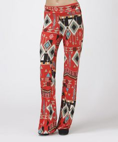 Look what I found on #zulily! Red & Ivory Tribal Palazzo Pants - Women by BOLD & BEAUTIFUL #zulilyfinds