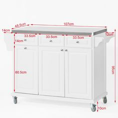 SoBuy White Luxury Kitchen Island Storage Trolley Cart Kitchen Cabinet with S Kitchen Storage Trolley, Large Storage Cabinets, Portable Kitchen Island, Rolling Kitchen Island, Island Kitchen, Luxury Kitchen Design, Best Kitchen Designs, Luxury Kitchens, Cool Kitchens