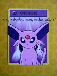 Création Carte Custom Pokemon, Peinture sur Carte Énergie : Mentali