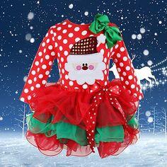 Baby-Mädchen Neujahr Weihnachten Lange Ärmel Gepunkteten Kleid (100(2-3T)): Amazon.de: Bekleidung