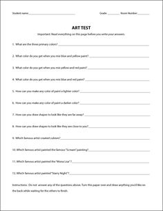 """Follow the Directions"" Art Test:  Art Projects for Kids:"