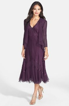 Free shipping and returns on Komarov Beaded Neck Charmeuse & Chiffon Dress with Jacket at Nordstrom.com. Shimmering plum charmeuse is hand-pleated and heat-set for a sleeveless A-line dress accented with an opulently embellished neckline and finished with a chiffon-inset hem. An ethereal drape-front jacket finishes the flattering ensemble.