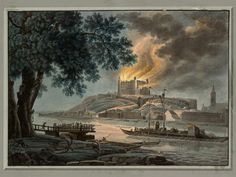 Napoleon troops burn the castle Bratislava, Old Pictures, Troops, Napoleon, Painting, Castles, Fantasy, Times, Art