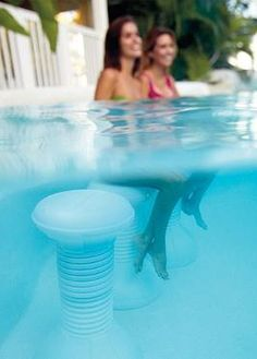 Create a swim-up bar or simply sit and enjoy the company of your guests will beating the heat on the Multicolor Light-up Pool Stool; a full submersible stool that stays in place for comfort and stability.