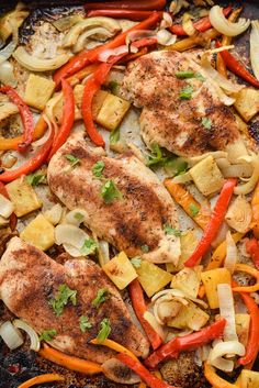 This Sheet Pan Jerk Chicken with Pineapple from Seasonal Cravings is full of spicy and sweet flavor that your family will love. It's quick and easy to prepare in one pan and full of good for you vegetables! Dairy Free Recipes, Easy Healthy Recipes, Paleo Recipes, Healthy Meals, Healthy Eating, Clean Eating, Easy Weeknight Meals, Quick Meals, Dinner On A Budget