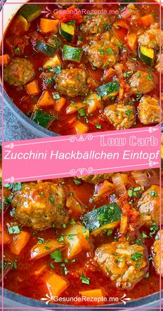 Zucchini meatball stew to take off Sausage Recipes, Diet Recipes, Healthy Recipes, Soup Recipes, Meatball Stew, Law Carb, Zucchini Meatballs, Carne Picada, Albondigas