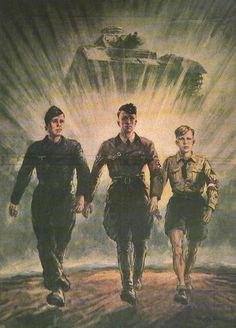 Nazi and children propaganda poster