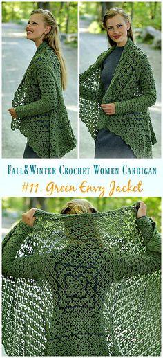 Fall & Winter Women Cardigan Free Crochet Patterns Green Envy Jacket Crochet Free Pattern - Fall & W Cardigan Au Crochet, Black Crochet Dress, Crochet Coat, Crochet Shawl, Crochet Clothes, Crochet Sweaters, Crochet Shrugs, Crochet Vests, Sweater Cardigan