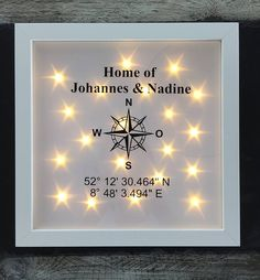 cadeau-pour-emmenager-cadre-photo-illumine-avec-boussole-coordonnees-et-nom-cadre-led-decoration-murale/ delivers online tools that help you to stay in control of your personal information and protect your online privacy. Led Decoration, Framed Letters, Light Chain, Baby Frame, Glow Effect, Rustic Wall Art, Home Decor Pictures, Illuminated Letters, Baby Boy Gifts