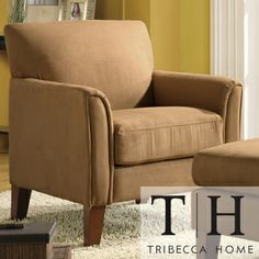 TRIBECCA HOME Uptown Peat Microfiber Modern Arm Accent Chair   Overstock.com Shopping - Great Deals on Tribecca Home Chairs