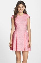 Clove Jacquard Cap Sleeve Fit & Flare Dress (Nordstrom Exclusive)