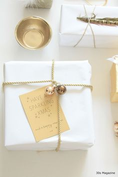 White with beautiful gold gift tags! Simply the best!