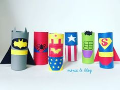 {DIY} Un mini bowling de super héros! Moma le blog DIY super hero bowling with paper roll