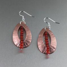 NEW! Beautiful Chased Copper Tear Drop Earrings with Carnelian https://www.copperanniversarygifts.com/product/chased-copper-tear-drop-earrings-with-carnelian/