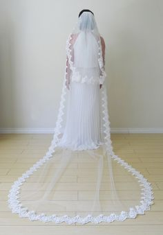 CathedralLength lace wedding veil by LifeLoveINC on Etsy, $400.00