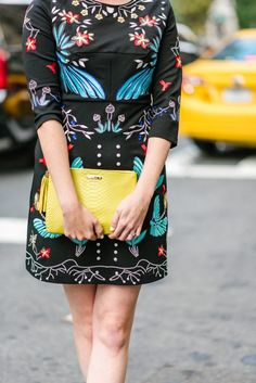 Black Embroidered Mini Dress and NYFW Day 3 | Greta Hollar