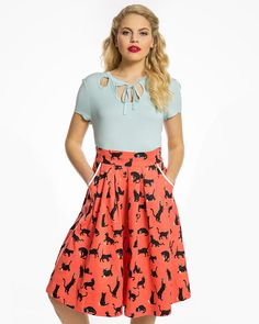 Daniella Coral Cats Wool Swing Skirt | Vintage Style Fashion | Lindy Bop