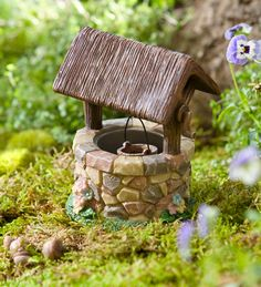 Miniature Fairy Garden Wishing Well Accent - beautifully detailed with stone base and thatched roof.