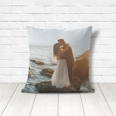 Custom wedding throw pillow cover with an optional insert, printed with your own picture.  Size options: 14x14, 16x16, 18x18, 20x20, or 26x26.  Please note I recommend a picture where what you want to portray is centered and not close to the edges. If your image is not ideal, I will contact you for