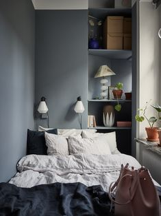 Tiny blue bedroom