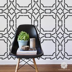 Here's our most popular modern and geometric wall stencil, the Contempo Trellis! Perfect for stenciling an accent wall, ceiling or floor in the color of your choice. You can get the wallpaper effect w
