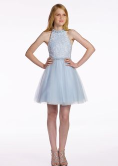 Lexie by Mon Cheri Eighth Grade Dance Dress : Lexie by Mon Cheri is a sleeveless lace and tulle above-the-knee A-lined dress, hand-beaded modified halter neckline, lace bodice, matching beaded waistband, gathered tulle overlay skirt. Junior Homecoming Dresses, Grad Dresses, Formal Dresses, Dresses For Tweens Formal, Bridesmaid Dresses, Summer Dresses, Girls Dresses Tween, Tween Girls, Bat Mitzvah Dresses