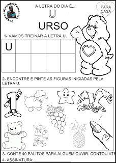 Atividade Inédita letra U - Educação Infantil Portuguese Lessons, Toddler Learning, Preschool Activities, Literacy, Kindergarten, Education, Professor, Pink Things, Julia