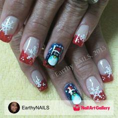 Penguin Nailart by EarthyNAILS via Nail Art Gallery #nailartgallery #nailart #nails #acrylic #uñas #glitternails #redglitter #nailartdesign #acrylicnails #christmasnails
