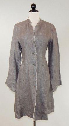 EILEEN FISHER Long Taupe Gray Beige Irish Linen Fringe Duster Coat Jacket Size M #EileenFisher #BasicJacket #Casual