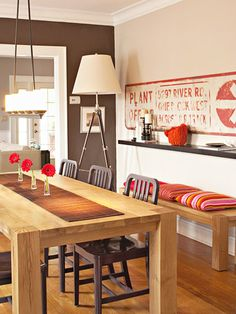 Lighting ideas for the dining room - note the over-the-table light fixture and the tripod lamp in the corner.