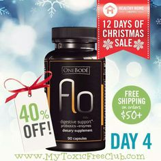 Save 40% on Flo and receive your supply in time for holiday gifts! Stock up while the savings are big – FREE SHIPPING within the continental United States when you order three bottles of OneBodē Flo OR any order over $50.  Flo pairs perfectly with meals by assisting in the break down of food and releasing trapped vitamins and minerals from the foods you eat.  Hurry! Sale ends tonight at 11:59 p.m. PT! Shop now: http://www.MyToxicFreeClub.com