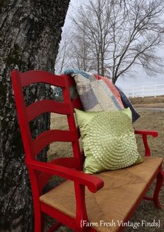 Wood Settee Painted with General Finishes Milk Paint - Farm Fresh Vintage Finds