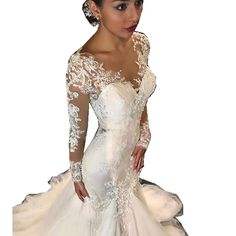 Cheap robe de mariage, Buy Quality mermaid wedding dresses directly from China lace wedding dress Suppliers: African Vintage 2017 Long Sleeves Mermaid Wedding Dresses Vestido De Noiva 2017 Lace Wedding Dress Bride Dress Robe De Mariage
