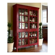 Red colored china cabinet | china cabinet display ideas