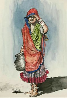 """Waiting"" Indian village woman.. . Watercolor and Ink pen on paper by Pushpa Sharma"