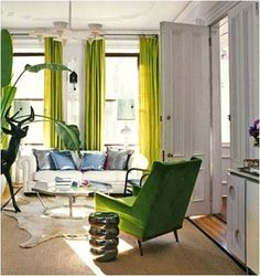 Material Girls | Interior Design Blogs | Decorating & Home Décor » modern lime green, white and chrome living room