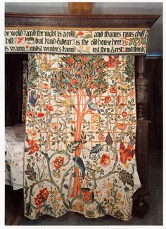 William Morris & Co. Embroidered Bed Hanging at Kelmscott Manor - William Morri. - William Morris & Co. Embroidered Bed Hanging at Kelmscott Manor – William Morris & Co. Art Nouveau, John Everett Millais, William Morris Art, William Blake, Edward Burne Jones, Embroidered Bedding, Art And Craft Design, Pre Raphaelite, Arts And Crafts Movement