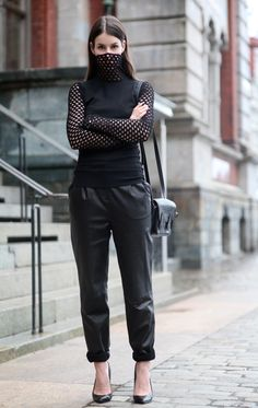 Alexander Wang sweater, by Malene Birger leather pants, Zara heels and TheManual…
