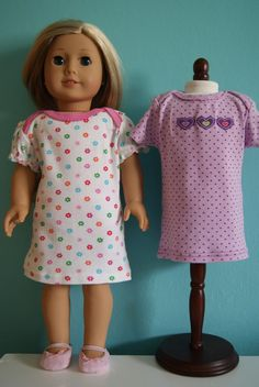 newborn onesies (5-8 lb size) to 18-inch doll nightgowns and t-shirts - by nest full of eggs