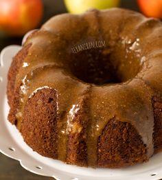 Apple Butter Cake with Maple Cinnamon Glaze (grain free, gluten free, dairy free)