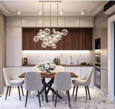 Most beautiful elegant modern dining room design ideas 8 Kitchen Room Design, Luxury Kitchen Design, Home Room Design, Dining Room Design, Home Decor Kitchen, Interior Design Kitchen, Modern Kitchen Interiors, Luxury Dining Room, Dining Room Inspiration