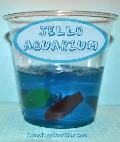 Jello Aquarium: Add gummy fish fruit snacks to Jello for a fun, cool treat.the Swedish fish absorbed the jello and became. Blue Jello, Kindergarten Snacks, Preschool Snacks, Jello Aquarium, Birthday Treats, Birthday Parties, Kid Parties, Gelatina Jello, Gummy Fish