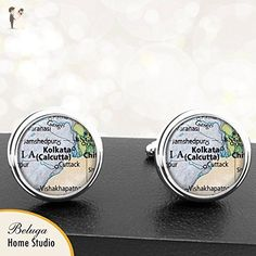 Map Cufflinks Kolkata Calcutta India City Country Cuff Links for Groomsmen Groom Fiance Anniversary Wedding Party Fathers Dads Men - Groom cufflinks and tie clips (*Amazon Partner-Link)