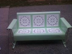 Vintage Metal Porch Patio Glider Restored by oldvintagefurniture, $1125.00