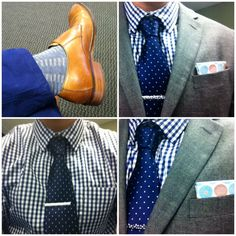 Shop this look for $415:  http://lookastic.com/men/looks/double-monks-and-socks-and-chinos-and-dress-shirt-and-pocket-square-and-blazer-and-tie/3418  — Walnut Leather Double Monks  — Grey Socks  — Navy Chinos  — White and Navy Gingham Dress Shirt  — White Print Pocket Square  — Grey Wool Blazer  — Navy Polka Dot Silk Tie