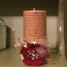 Stamped & embellished candle