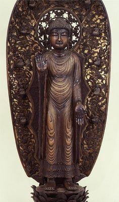 国宝 释迦如来立像 1躯  像高160.0cm 木造 彩色 截金  中国・北宋時代 雍煕2年(985) 京都・清凉寺