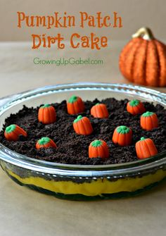 Pumpkin Patch Dirt Cake from Growing Up Gabel is a fun Halloween or Thanksgiving dessert!