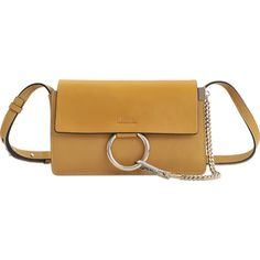 Chloé Faye Small Clutch (€1.245) ❤ liked on Polyvore featuring bags, handbags, clutches, yellow, pocket purse, chain strap purse, yellow purse, flap purse and yellow handbag